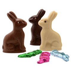 Trixie Chocolate Easter Bunnies in dark chocolate, milk chocolate and white chocolate