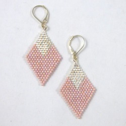 Luli Designs - Earrings - Large Diamond Blush/Silver