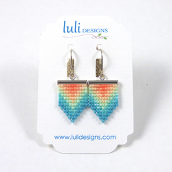 Luli Designs - Earrings - Beadwork Pennant Coral Ombre