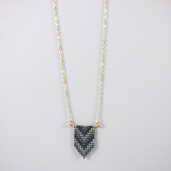 Luli Designs - Necklace - Beadwork Pennant Grey