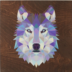 "Reclaimed Print - 14""x14"" Mahogany - Animal Geometric"