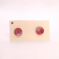 Heather Gunn- Earrings - Copper Enamel Studs Red