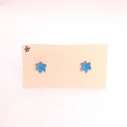 Heather Gunn- Earrings - Blue Enamel Flower