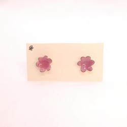 Heather Gunn- Earrings - Pink Enamel Flower