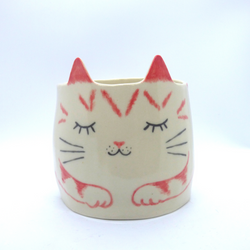 Kayo Benson - Large Planter - Pink Cat