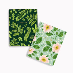 Linden Paper Co. - Notebooks – Dark Fern + Rosa Floral Notebook Set