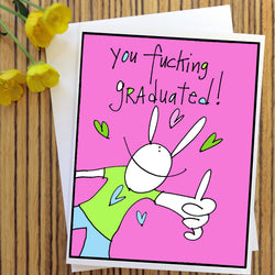 RabbitRabbit - You f****** graduated! Card