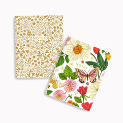 Linden Paper Co. - Notebooks – Gold Meadows + Butterfly Floral Notebook Set