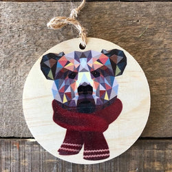 Reclaimed Print – Ornament – Geometric Bear with Scarf