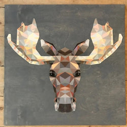 "Reclaimed Print - 14""x14"" Storm Grey - Animal Geometric"