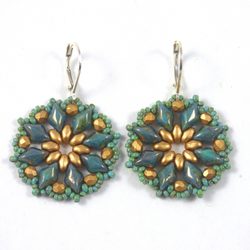 Luli Designs - Earrings - Floral Beadwork Turquoise/Gold
