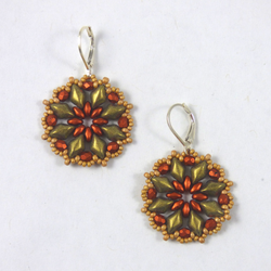 Luli Designs - Earrings - Floral Beadwork Copper/Gold Suede