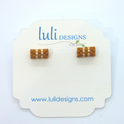 Luli Designs - Earrings - Cinnamon Stripe Beadwork Tube Studs