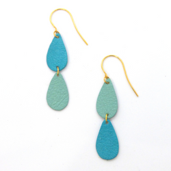 Scandinazn - Earrings - Asymetrical Leather Teardrop Earrings