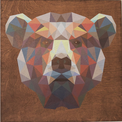 "Reclaimed Print - 7""x7"" Mahogany - Animal Geometric"