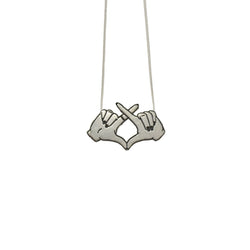 Carli Sita - Necklace - Silver Double Hands