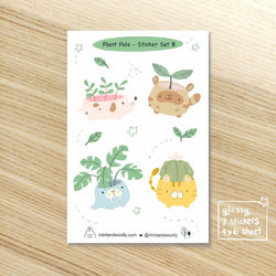 Mint and Woolly - Sticker  Sheet - Plant Pals Set B
