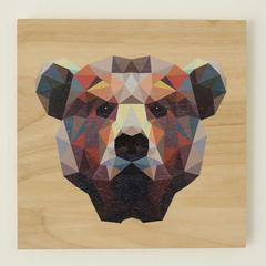 Reclaimed Print Coaster Animal Geomertic Bear