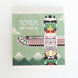 totem pole reclaimed print coaster