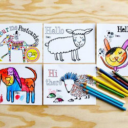 Draw Me a Lion - Colouring Postcards Booklet - Animals Themed