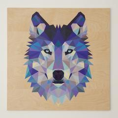Reclaimed Print Coaster Animal Geomertic Wolf