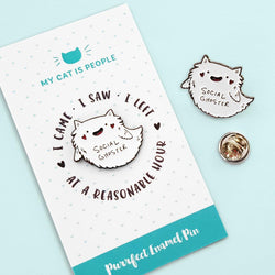 My Cat Is People - enamel pin social ghoster