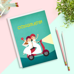 Rosy Designs - Cards - Just Married Vespa Brides Wedding Card