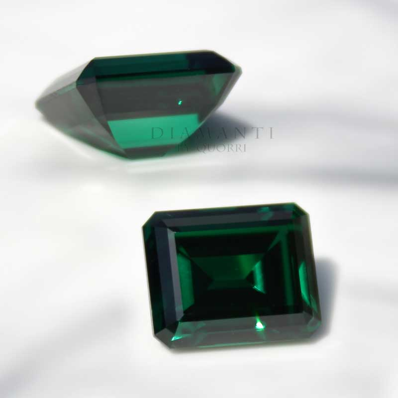 loose cultured green emerald gemstones and rings at Quorri Canada