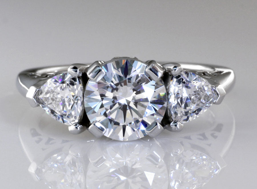 designer lab created three stone diamond engagement ring at Quorri