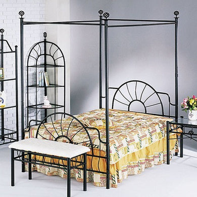 Acme Sunburst Full Headboard and Footboard & Canopy (Rail not Included), Sandy Black