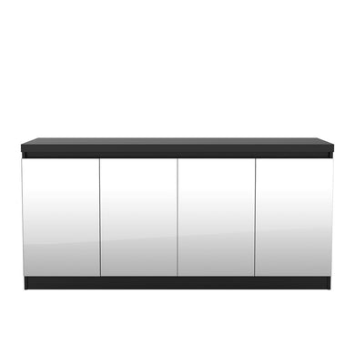Manhattan Comfort Viennese 62.99 in. 6- Shelf Buffet Cabinet with Mirrors in Black Matte