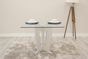 Manhattan Comfort Jane 39.32 in Sleek Tempered Glass Table Top in Off-White