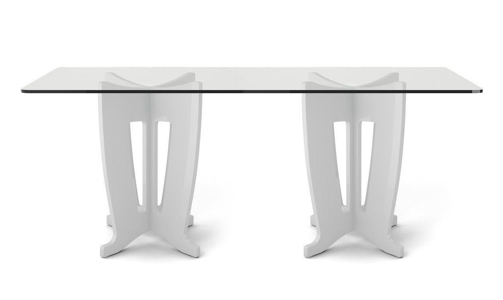 Manhattan Comfort Jane 2.0 -78.64 in Sleek Tempered Glass Table Top in White Gloss
