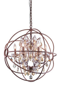"1130 Geneva Collection Pendent lamp D:25"" H:27.5"" Lt: Rustic Intent Finish (Royal Cut Golden Teak Crystals)"
