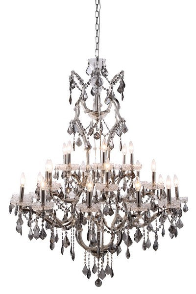 1138 Elena Collection Pendant Lamp D:41in H:52in Lt:25 Polished Nickel Finish Royal Cut Silver Shade (Grey)