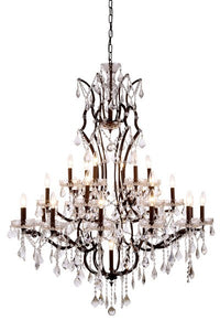 1138 Elena Collection Pendant Lamp D:41in H:52in Lt:25 Rustic Intent Finish Royal Cut Crystal (Clear)