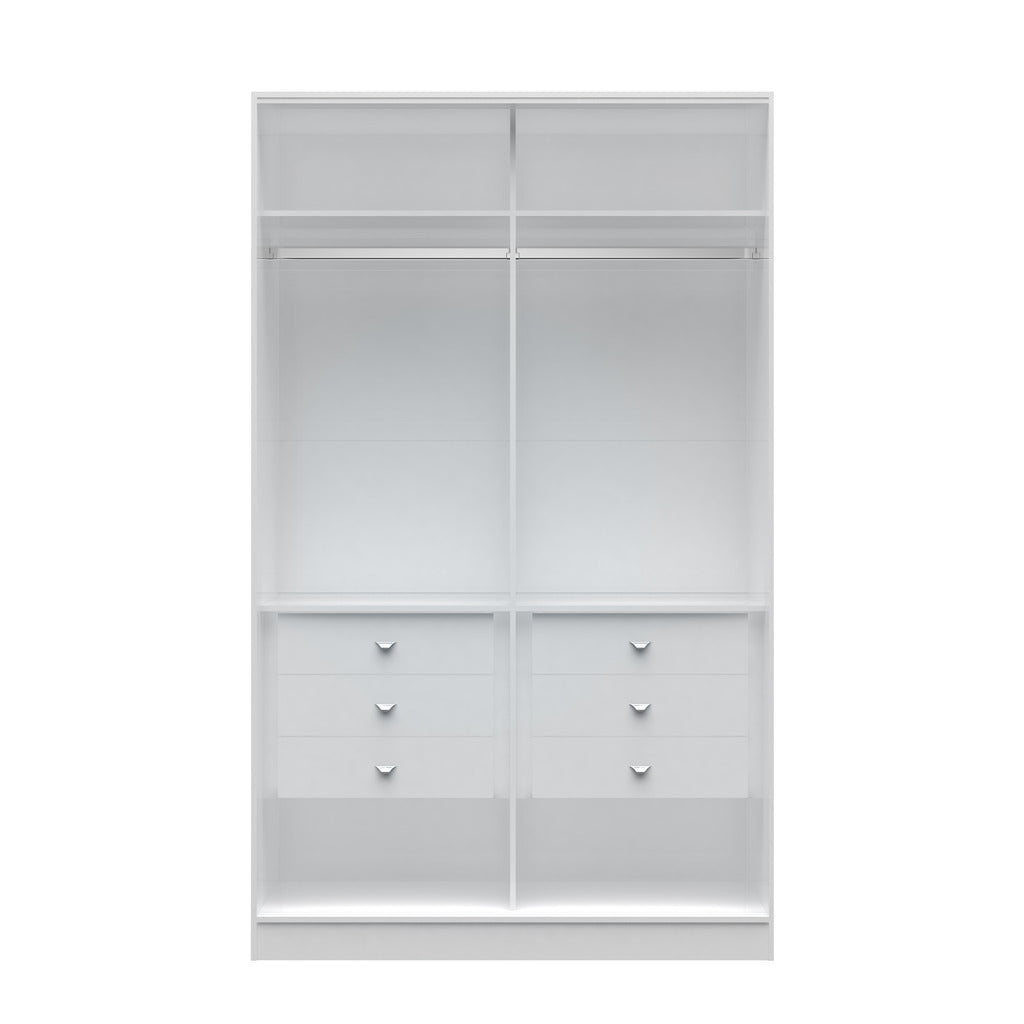 Manhattan Comfort  Chelsea 1.0 - 54.33 inch Wide He/ She Wardrobe with 6 Drawers in White