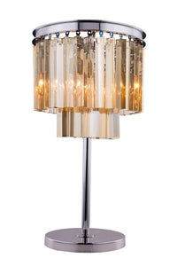 "1201 Sydney Collection Table Lamp D:14"" H:26"" Lt:3 Polished nickel Finish (Royal Cut Golden Teak Crystals)"