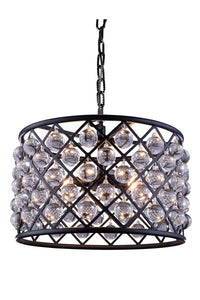 "1204 Madison Collection Pendent lamp D:20"" H:13"" Lt:6 Mocha Brown Finish (Royal Cut Crystals)"