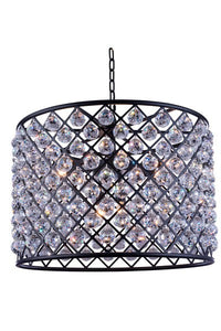 "1206 Madison Collection Pendent lamp D:27.5"" H:21"" Lt:8 Mocha Brown Finish (Royal Cut Crystals)"