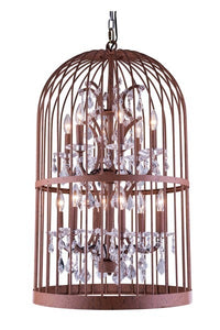 "1207 Austin Collection Pendent lamp D:24"" H:42"" Lt:12 Rustic Intent Finish (Royal Cut Crystals)"