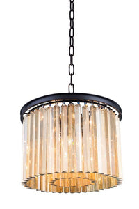 "1208 Sydney Collection Pendent lamp D:20"" H:13.5"" Lt:6 Mocha Brown Finish (Royal Cut Golden Teak Crystals)"
