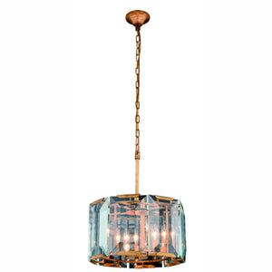 "Monaco Collection Pendant Lamp D:17"" H:12"" Lt:4 Golden Iron Finish Glass Crystal (Clear)"