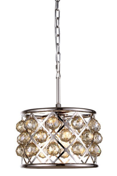 1214 Madison Collection Pendant Lamp D:12in H:9in Lt:3 Polished Nickel Finish Royal Cut Golden Teak (Smoky)