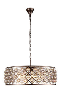 1214 Madison Collection Pendant Lamp D:32in H:10.5in Lt:8 Polished Nickel Finish Royal Cut Crystal (Clear)