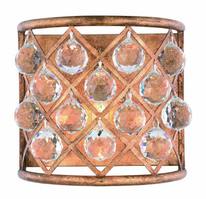 "Madison Collection Wall Sconce W:11.5"" H:10.5"" E:6.5"" Lt:1 Golden Iron Finish Royal Cut Crystal (Clear)"