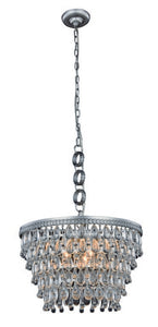 "Nordic Collection Pendant Lamp D:19"" H:12"" Lt:5 Antique Silver Finish Royal Cut Clear"