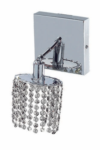 1281 Mini Collection Wall Fixture Square Canopy L4.5inxW4.5in H13.5in Ellipse Pendant Lt:1 Chrome Finish (Swarovski Spectra Crystals)
