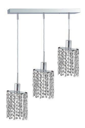 1283 Mini Collection Hanging Fixture Oblong Canopy D14.5inx4.5in H12in-48in Ellipse Pendant Lt:3 Chrome Finish (Royal Cut Crystals)