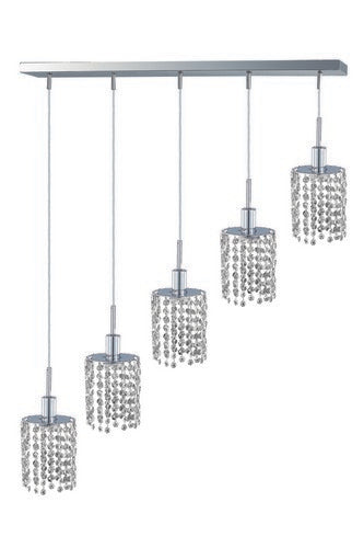 1285 Mini Collection Hanging Fixture Oblong Canopy D34inx5in H12in-48in Round Pendant Lt:5 Chrome Finish (Swarovski Strass/Elements Crystals)